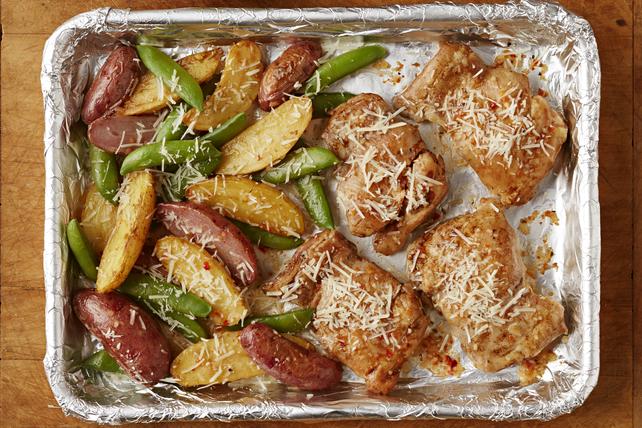 Plat tout-en-un de poulet, de pommes de terre et de pois mangetout sucrés Image 1