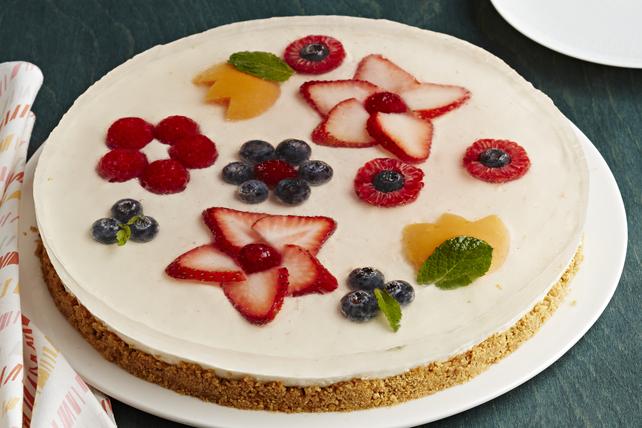 No-Bake Flower Garden Cheesecake Tart Image 1