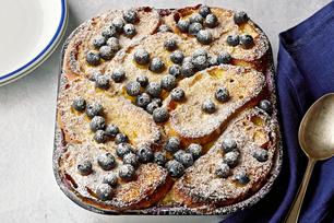 Vanilla-Blueberry Stuffed French Toast Bake