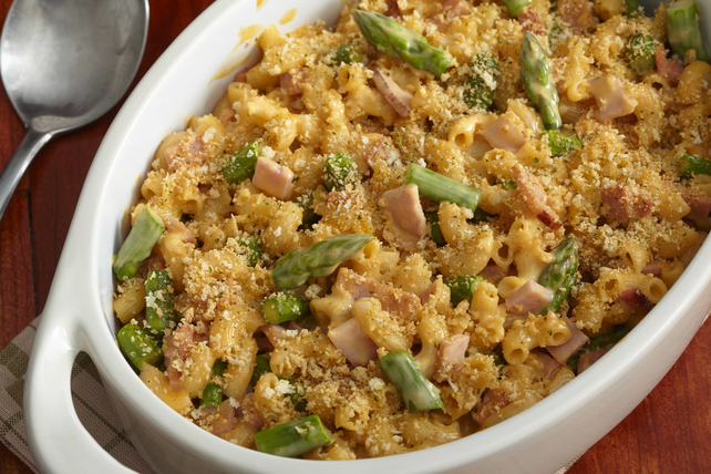 Oven Baked Asparagus-Ham Mac and Cheese Image 1