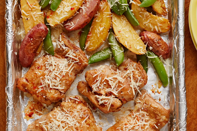 One-Pan Chicken and Potatoes with Snap Peas Image 1