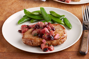 Rhubarb Chutney Pork Chops for Two