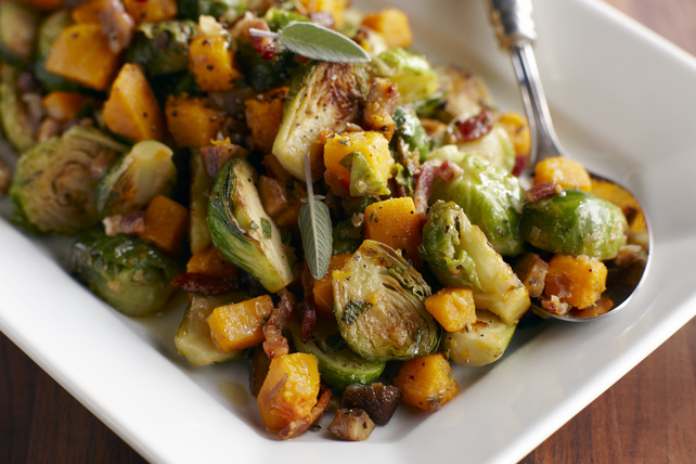 Roasted Brussels with Squash and Bacon Image 1