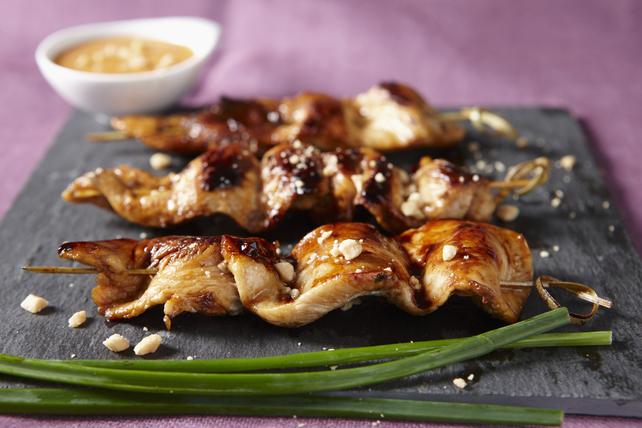 Brochettes de poulet sucrées et collantes au beurre d'arachide Image 1