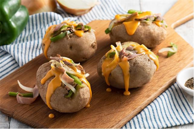 Philly Cheesesteak Loaded Baked Potatoes Image 1