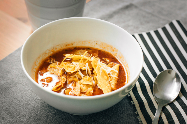 Mexican Soup with Tortilla Chips Image 1