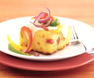 Sun-Dried Tomato Polenta Squares Topped with Three Peppers