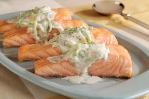 Salmon with Leeks and Cream Sauce
