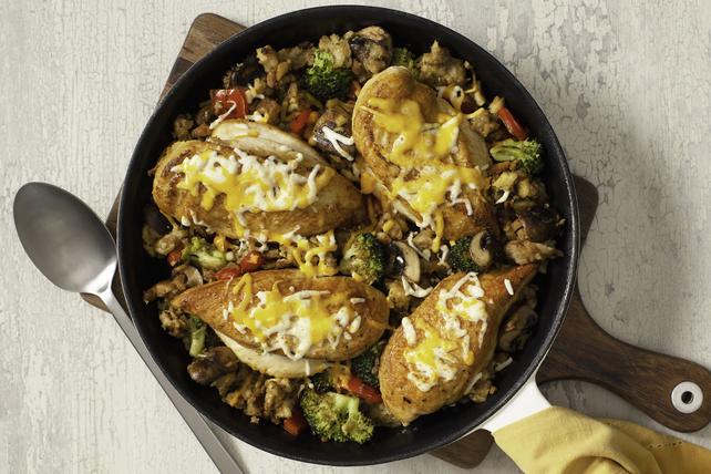 Poêlée de poulet et légumes avec cheddar Image 1