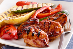 Orange-BBQ Chicken with Grilled Vegetables