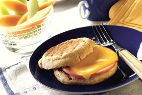 English Muffin with Canadian Bacon and Cheese