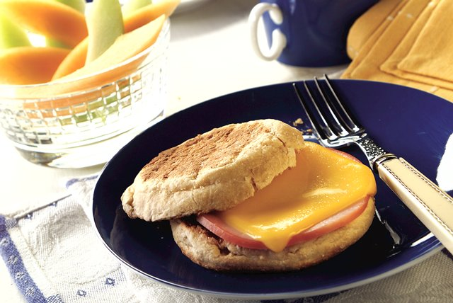 English Muffin with Canadian Bacon and Cheese Image 1