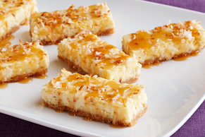 Coconut Cheesecake Squares with Caramel Topping
