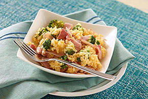 15-Minute Cheesy Rice with Ham & Broccoli