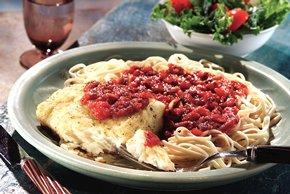 Italian Baked Fish with Horseradish Marinara Sauce