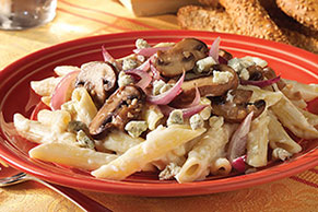 Penne and Mushrooms with Gorgonzolo Sauce