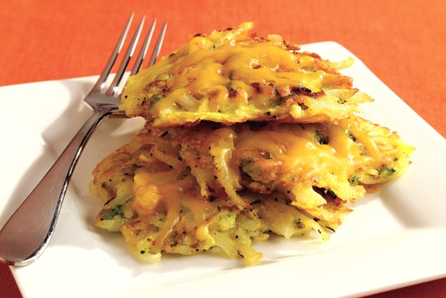 Cheesy Potato Pancakes with Veggies