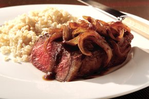 Strip Steak with Onion Wine Sauce