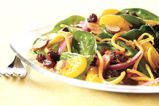 Cheesy Sunshine Spinach Salad Image 1