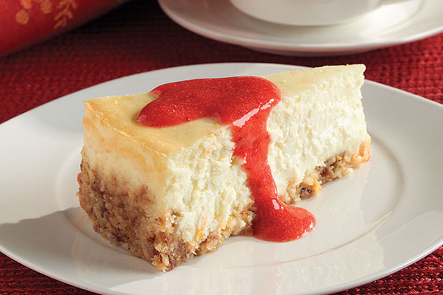 Passover Cheesecake with Strawberry Sauce Image 1