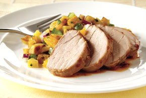 Chipotle Pork Tenderloin with Plantain and Orange Salsa