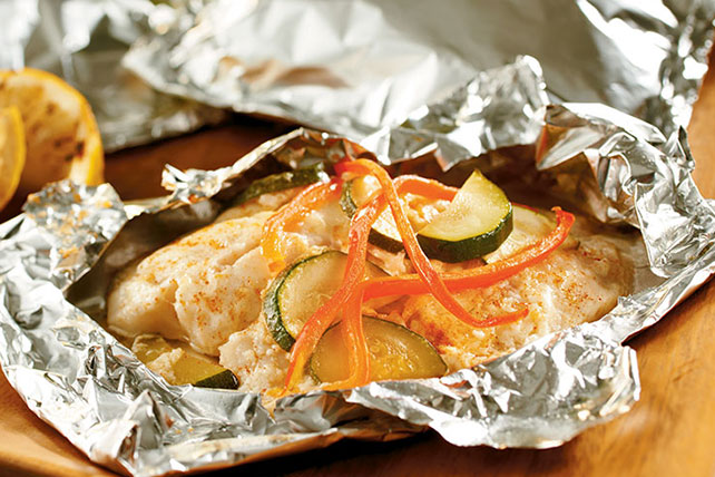 Foil-Wrapped Fish with Creamy Parmesan Sauce Image 1