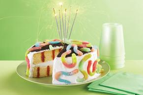 Survivor Birthday Party Poke Cake