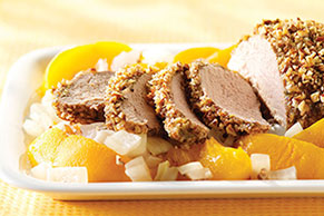 Pecan-Encrusted Pork with Peaches