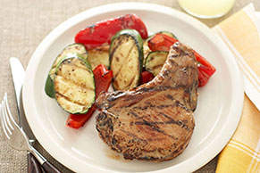 Zesty Pork Chops and Grilled Vegetables