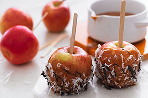 Caramel Apples with Coconut & Chocolate Drizzle