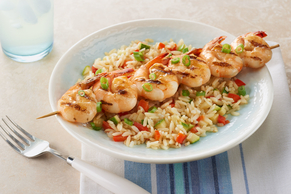 All-in-One Grilled Shrimp Skewers with Rice