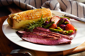 Barbecued Flank Steak with Roasted Veggies