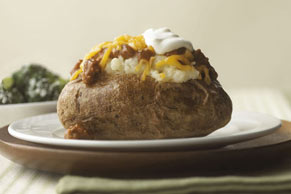 Chili-Topped Baked Potatoes