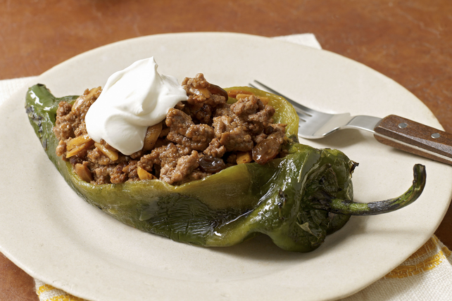 Chiles Rellenos with Sweet Picadillo