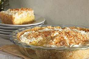 Tropical Coconut Cream Pie in Coconut Cookie Crust
