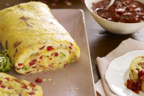 Bacon Omelet Roll with Salsa