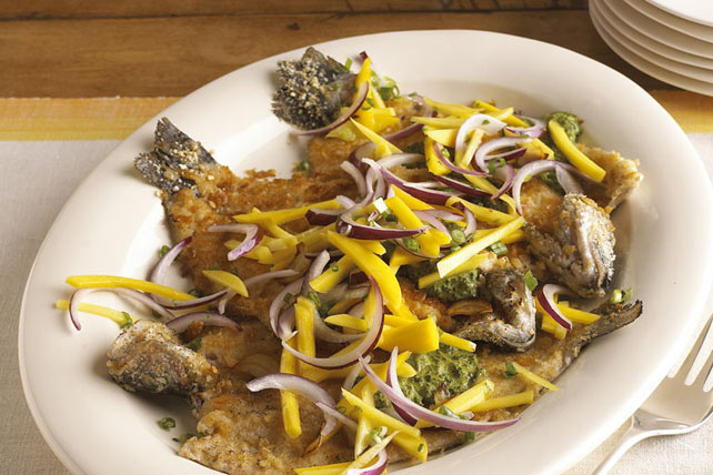 Pan-Seared Trout with Chimichurri and Mango Slaw Image 1