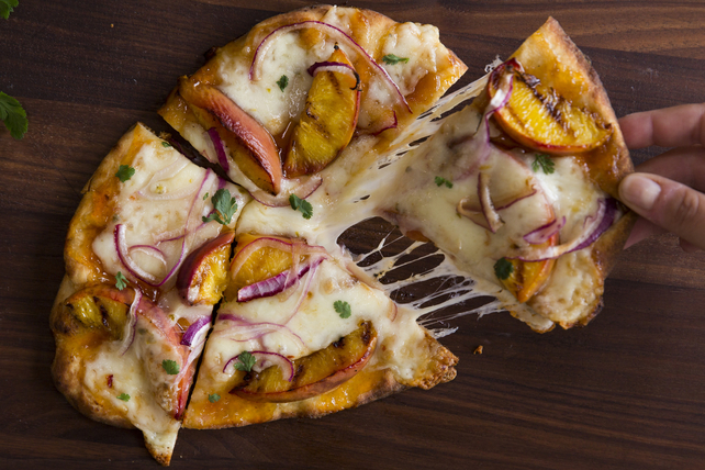 Grilled Peach and Jalapeño Cheddar Flatbread Image 1