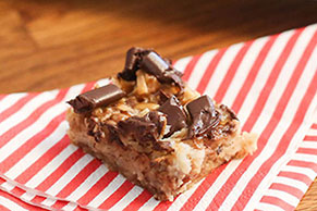 Chocolate Chunk Coconut Caramel Bars