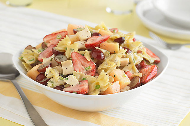 Chilled Creamy Poppyseed Pasta and Fruit Salad