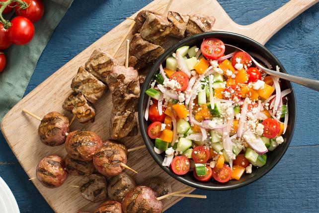 Grilled Pork Souvlaki Dinner Image 1