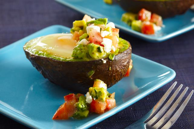 Baked Eggs in Avocados with Salsa Image 1