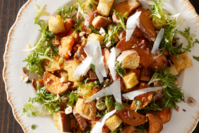 Sweet Potato Salad with Garlic, Frisée and Ricotta
