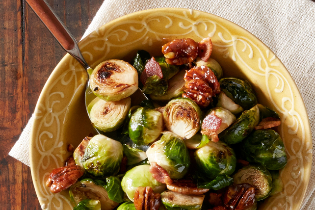 Pancetta Brussels Sprouts with Caramelized Pecans Image 1