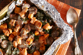 Sweet Potato, Kale and Sausage Bake with Cheese