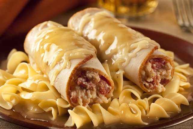 Stuffed Turkey Rolls and Noodles with Gravy Image 1