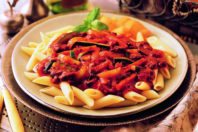 Penne Pasta with Spicy Eggplant Tomato Sauce Image 1