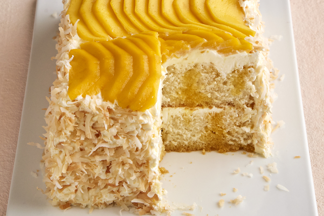 Gâteau à trous à la mangue et à la noix de coco Image 1