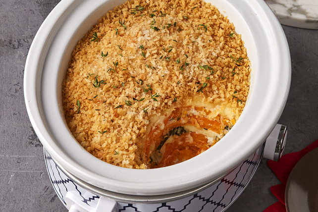 Slow-Cooker Sweet Potatoes au Gratin