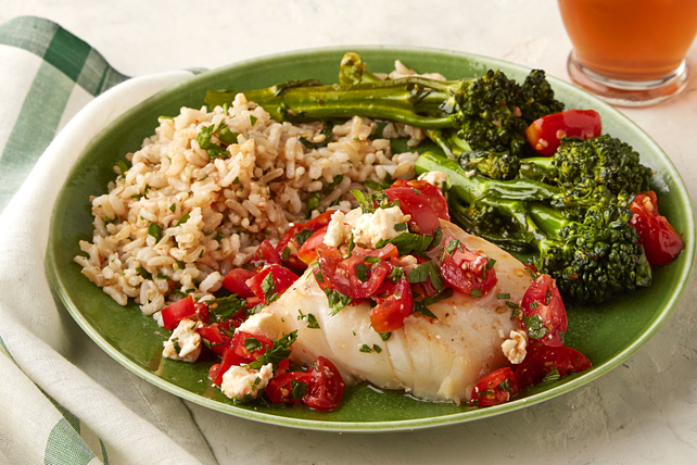 Cod with Tomatoes and Broccolini Image 1